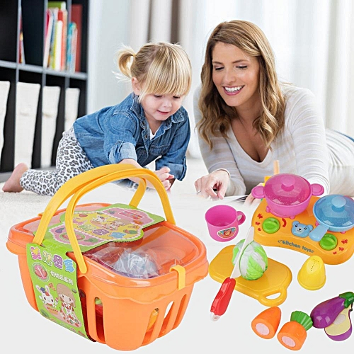 Sweetbaby 13 PCS Kitchen Fun Cutting Fruits Vegetables Baskets Play Toy Set For Kids
