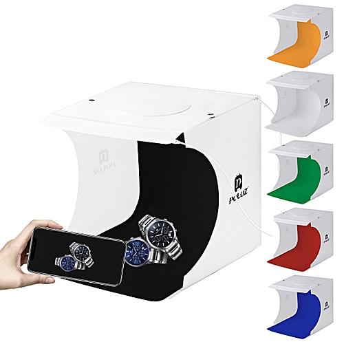 PULUZ 20cm Include 2 LED Panels Folding Portable 1100LM Light Photo Lighting Studio Shooting Tent Box Kit With 6 Colors Backdrops (Black, White, Orange, Red, Green, Blue), Unfold Size: 24cm X 23cm X 22cm