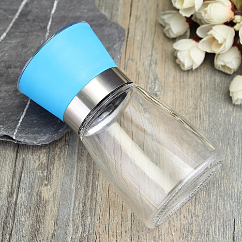 Stainless Steel Manual Brushed Salt Mill Pepper Grinder Set Glass Bottle