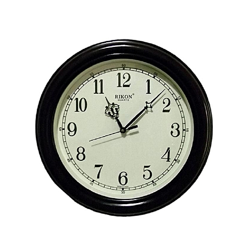Round Wall Clock- Brown/Ivory