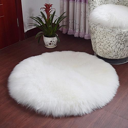 Soft Artificial Sheepskin Rug Chair Cover Artificial Wool Warm Hairy Carpet White