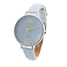 Geneva Casual Leather Wristwatch - White