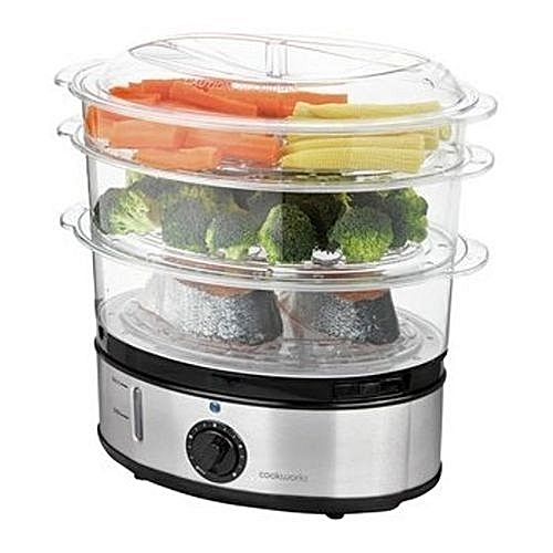 Healthy Meals 3-Tiered Food Steamer - 9 Litres, 800W - Cookworks 3-Bowl Fish & Vegetables Turbo Steamer - With Timer And Auto Shut-Off