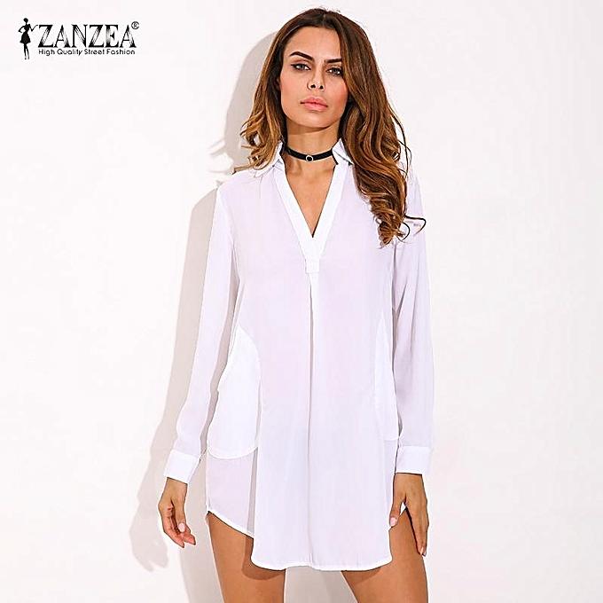 8b45ac147126 Zanzea ZANZEA Fashion Womens Casual Loose Shirt Dress See Through Chiffon  Long Sleeve Lapel Plus Size(White) | Jumia NG