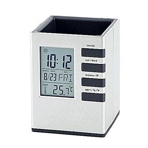 Office Pen Holder Digital Clock With Temperature &date