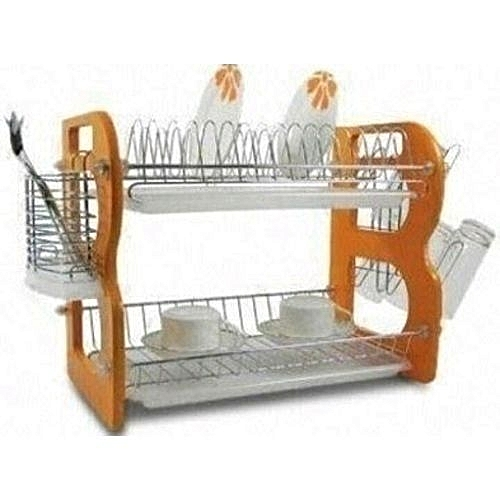 2 Layer Plate Rack /Dish Drainer -wood And Stainless