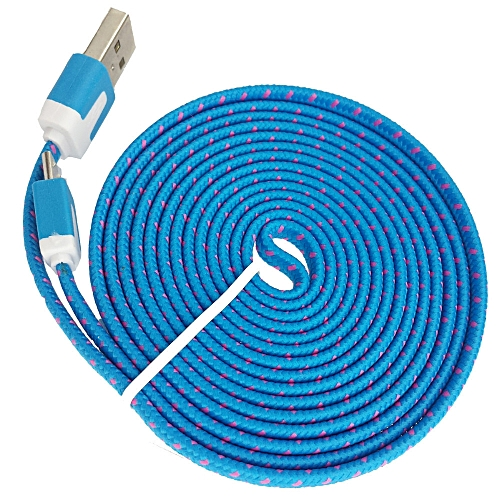 Charger 2M V8 Micro USB Charging Data Cable For Samsung Galaxy S7 Edge BU- Blue