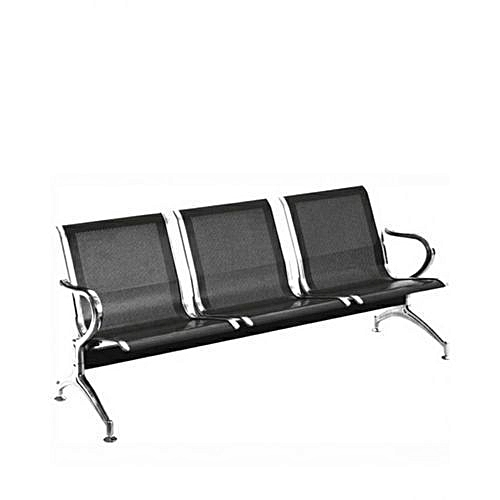3-Seater Airport Reception Office Waiting Chairs - Black