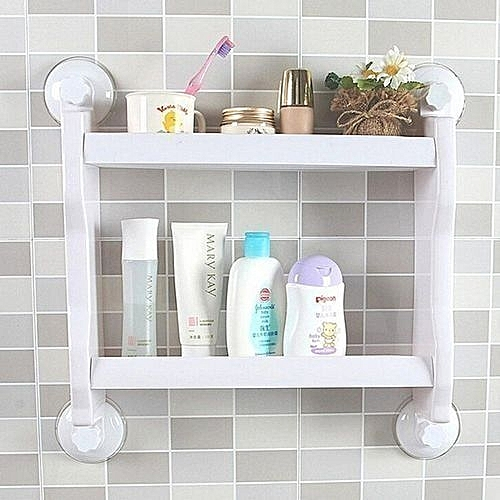 Kitchen/Bathroom Double Layer Storage Shelf (White),