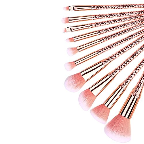 Lightning 10 Pcs Gradient Makeup Brush Set Eye Shadow Brush Cosmetics Blending Brush Tool-Rose Gold