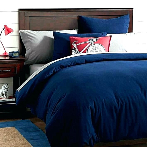 Navy Blue/White Duvet/bedsheet 4pillow Case Set