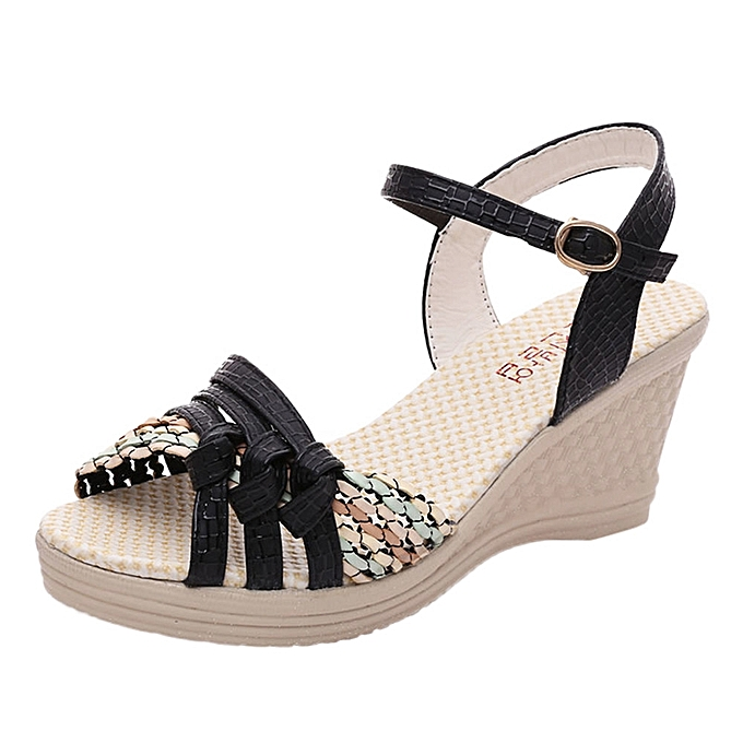 d8a04313c24 Tcetoctre Ladies Women Wedges Shoes Summer Sandals Platform Toe High-Heeled  Shoes-Black