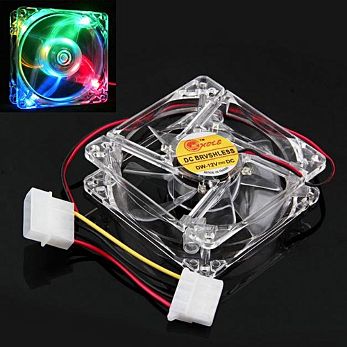 Muliawu Store Colorful Quad 4-LED Light Neon Clear 80mm PC Computer Case Cooling Fan Mod-Clear