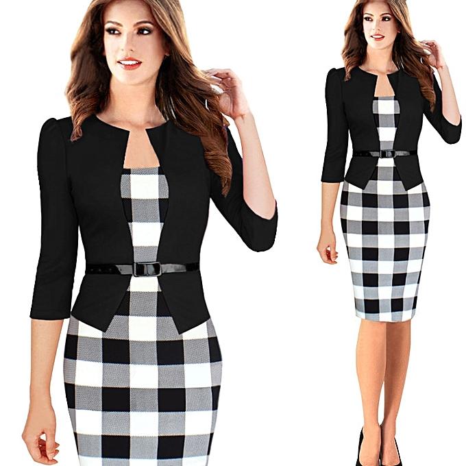 Fashion 34 Sleeve Women Office Dress Plus Size Faux Jacket One