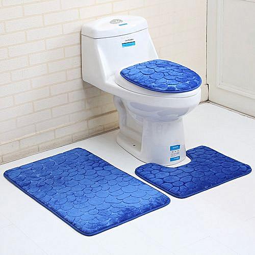 3PC Bathroom Set Rug Mat Toilet Bath Mat-Design Varies