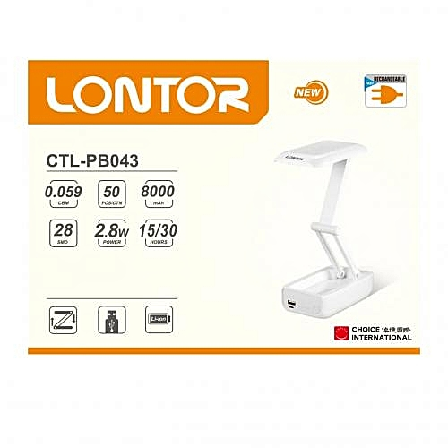 Rechargeable Reading Lamp With Power Bank CTL-PB043