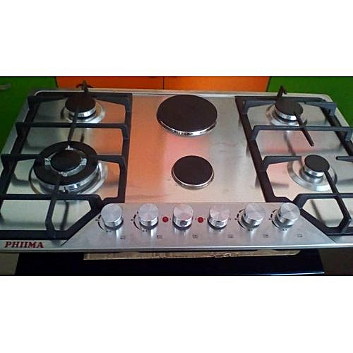 Phiima 4 Gas 2 Electric Stainless Steel Cooker