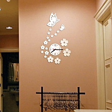 Jiuhap Store Butterfly Removable Diy Acrylic 3D Mirror Wall Sticker Decorative Clock-Silver for sale  Nigeria