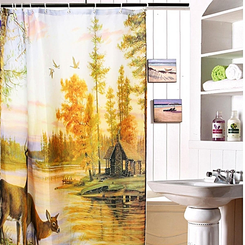 Polyester Waterproof Deer Shower Curtain Home Bathroom Panel Decor With 12 Hook