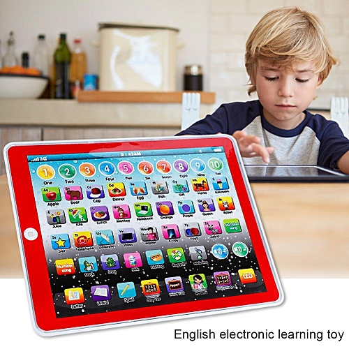 Kids Children Tablet Pad Electronic Preschool English Learning Numbers Letters Teach Toy(Red)