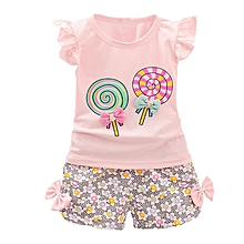 4dbbf89742d Little Girls  039  Fly Sleeve Top + Flower Pants Clothing Set Pink