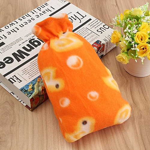 Relaxing Hot Water Bottle Flannel Plush Removable Cover Warm Home Bag Soft Gifts Orange