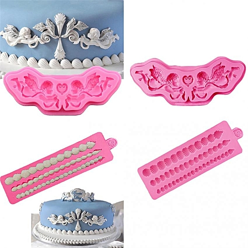 3D Silicone Cake Baking Mould Pastry Soap Icing Fondant Mold Tool 2 Pieces