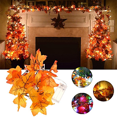 Maple Fall Leaves String Fairy Light Lamp Leaf Warm White Battery Operated Decor Multi-colored