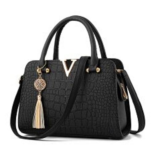 Marvelous Ladies Handbag (Leather) - Black