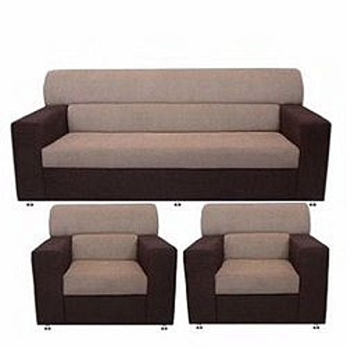 Brown And Cream Colour 5 Seater Fabric Sofa. 'ORDER NOW AND GET A FREE OTTOMAN' (Delivery To Lagos Only)