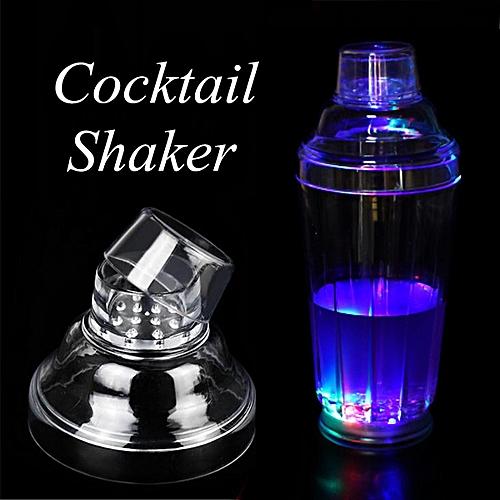 LED Light Tail Shaker Mixer Stainless Steel Drink Bartender Martini Strainer