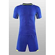 73ef42efded0 Men Short Sleeve O-neck Soccer Football Jerseys Training Clothing Uniforms  Suit-Blue