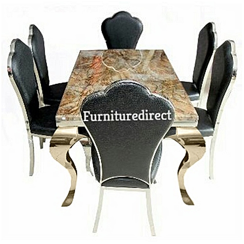 Marble Elliniax Dining Set Furniture + 6 Dining Chair Sets