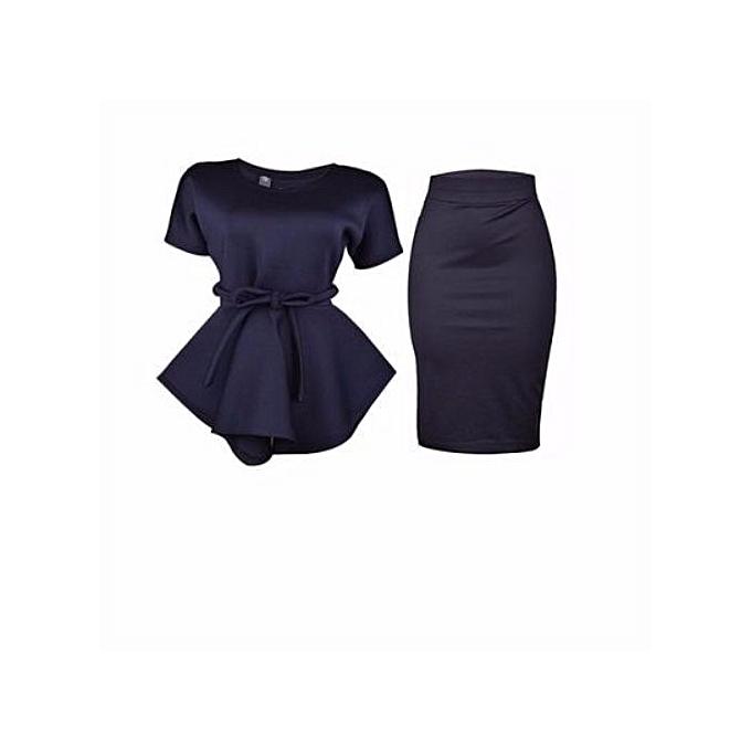 d3db403c31 Venturanna Peplum Top And Pencil Skirt - Navy Blue   Jumia NG