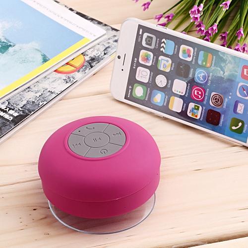 Waterproof Wireless Bluetooth Handsfree Mic Suction Speaker Shower Car-pink