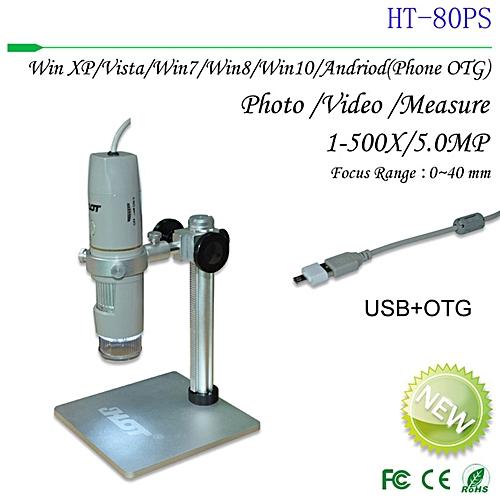 TA HD 5MP USB Digital Microscope 1-500X Portable Endoscope Polarized Microscope -gray