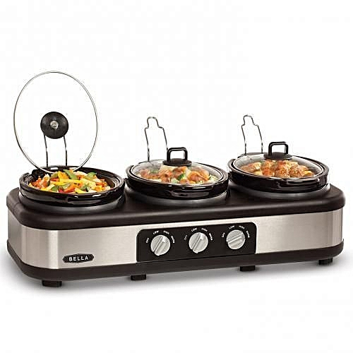 Triple Slow Cooker And Warming Station - Stainless