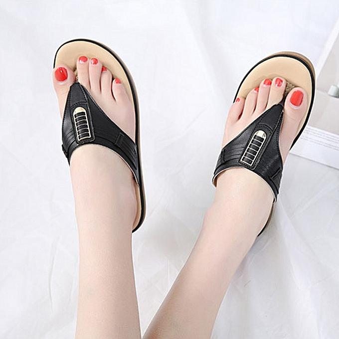 428190c42c1c21 ... Blicool Shop Shoes Summer New Sandals Womens Shoes Bohemian Wedge Flops  Buckle Beach Sandals -Black