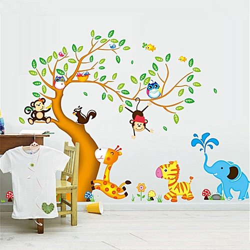 generic jungle animals tree monkey owl removable wall decal stickers