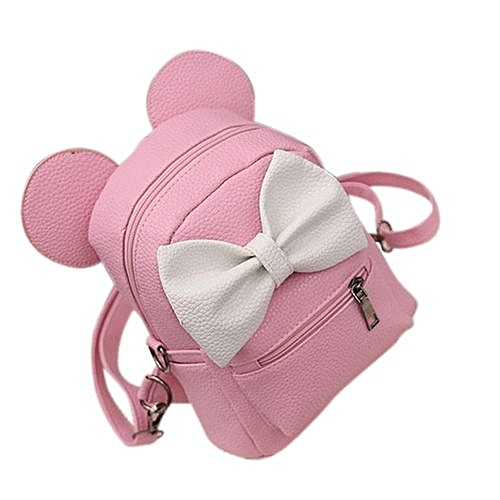 Fashion Girls Mini Backpack Preppy Style Mickey Ears Bowknot School  Backpacks Women Shoulder Bag Color Pink da704bf42ee39