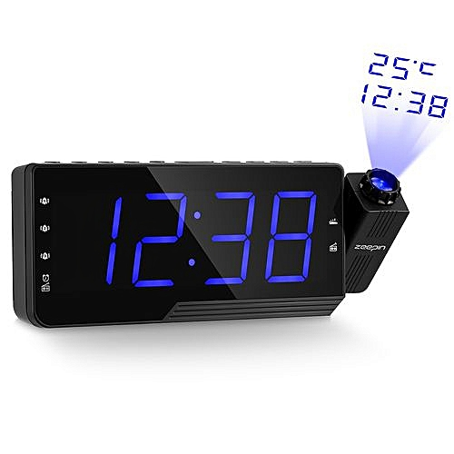 Digital Alarm Clock Projection Clock With Time Temperature Projection Triple Alarm FM Radio 3 Dimmers Snooze Setting Sleep Timer(yellow)(blue)
