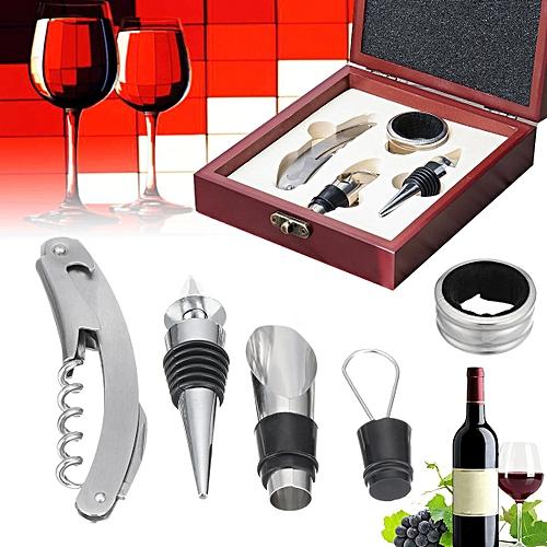 4 Pieces Wine Tool Set Bottle Opener Wooden Gift Box Corkscrew Accessories