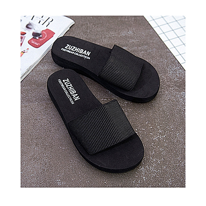 3f77e104e Summer Soft Women Wedge Sandals Thong Flip Flops Flat Platform Slippers  Beach Black