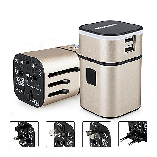 All In One Universal International Plug Adapter 2USB Ports World Travel AC Power Charger US UK AU EU