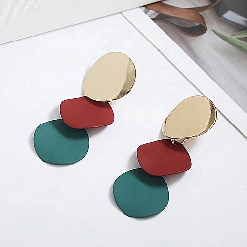 Ladies Korean Alloy Colorful Round Drop Earrings