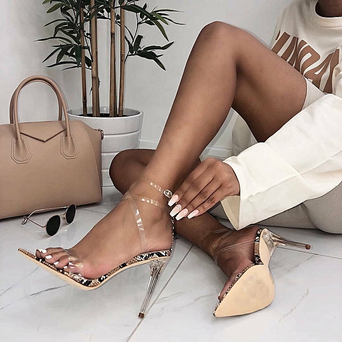 0e45e42cc8f Womens Clear Perspex High Heels Sandals Snake Print Stilettos