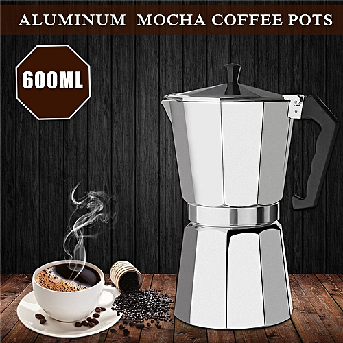 1x 600ML 12 Cup Aluminum Moka Espresso Coffee Maker Percolator Top Stove Pot