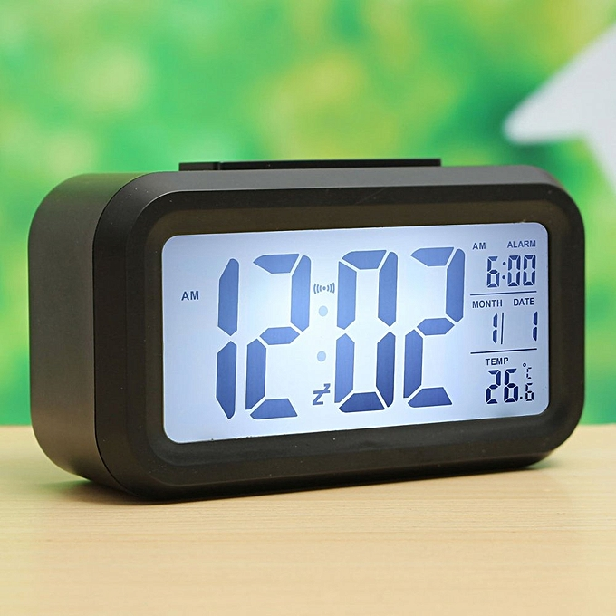 Digital Led Display Table Alarm Clock Calendar Thermometer Lcd Backlight Time Black