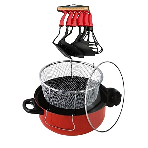 Non Stick Manual Deep Fryer(Black/Red)24cm + Free Non-Stick Spoon Set Of 6 Red