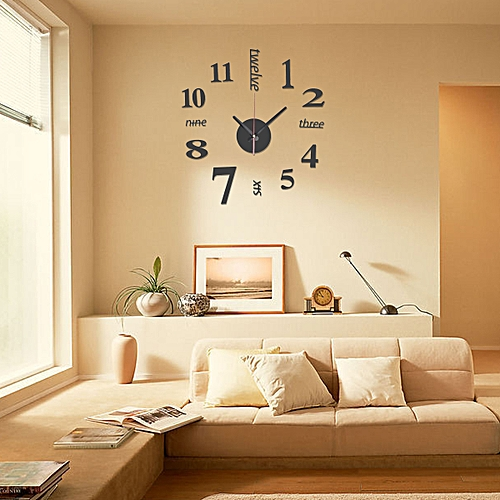 Large Wall Clock Big Watch Decal 3D Stickers Roman Numerals DIY Wall